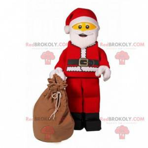 Lego mascot dressed as red and white Santa Claus -