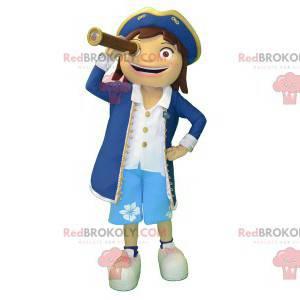 Mädchenmaskottchen im Seemannsoutfit des Kapitäns -