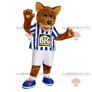 Brown wolf dog mascot in sportswear - Redbrokoly.com
