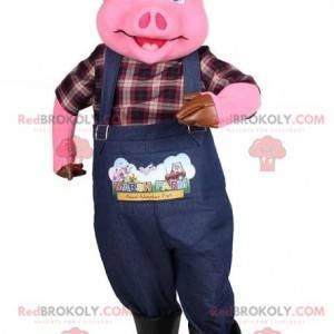 Pink pig mascot dressed as a farmer - Redbrokoly.com
