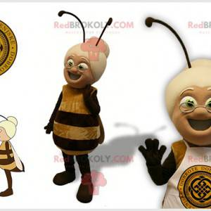 Bee mascot with an old lady's head - Redbrokoly.com