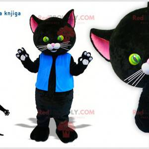 Obří černá kočka maskot s krásnými zelenými a žlutými očima -