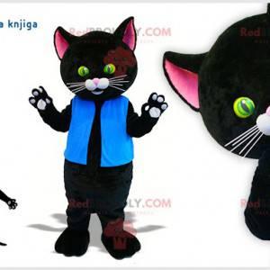 Riesiges schwarzes Katzenmaskottchen mit schönen grünen und
