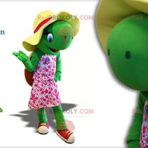 Maskot zelená želva s kloboukem a růžovými šaty - Redbrokoly.com