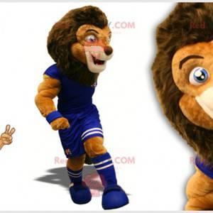 Dvoubarevný hnědý lev maskot ve fotbalovém oblečení -