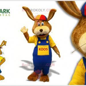 Brown rabbit mascot with overalls and a cap - Redbrokoly.com