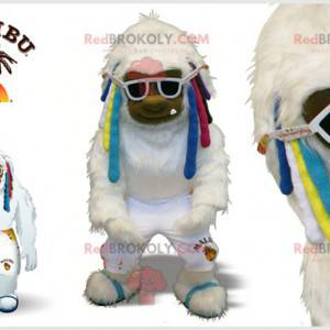 Maskot bílý yeti s barevnými zámky - Redbrokoly.com