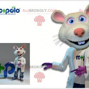 Biało-różowa maskotka szczur z lekarskim płaszczem -