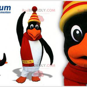 Black and white penguin mascot with a colorful cap -