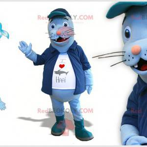 Blue sea lion mascot with a jacket and a big belly -