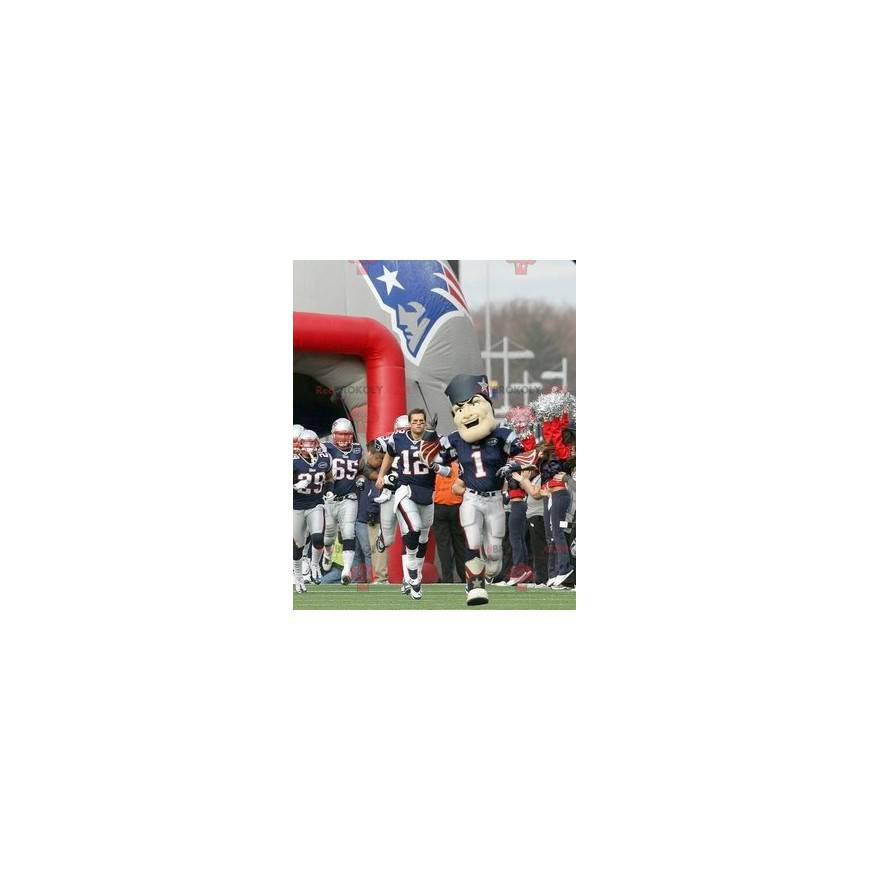Blue and white American footballer mascot with flames -