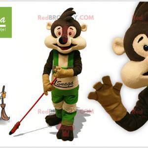 Brown and beige raccoon mascot with a broom - Redbrokoly.com