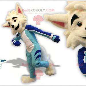 Maskotka psa lisa białego wilka w stroju skatera -
