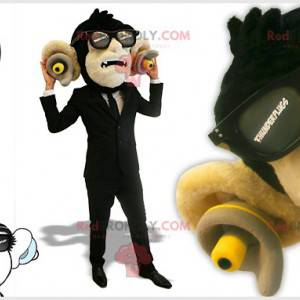 Black monkey mascot with plugs in the ears - Redbrokoly.com