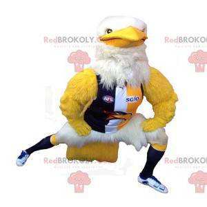 Muskulöses weißes und gelbes Adlermaskottchen in der