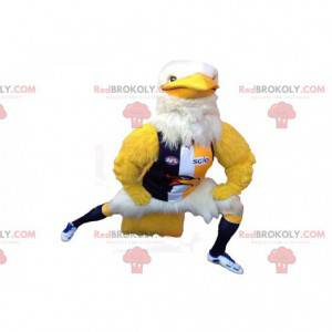 Yellow and white eagle mascot with sportswear - Redbrokoly.com