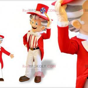 Sehr elegantes Mannmaskottchen mit einem rot-weißen Kostüm -