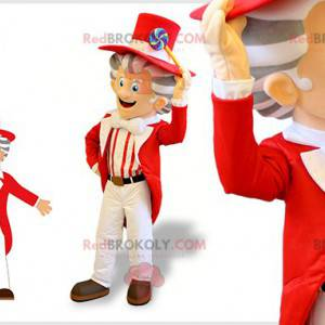 Very elegant man mascot with a red and white costume -