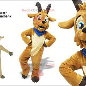Brown goat billy mascot with horns - Redbrokoly.com