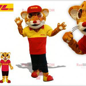 Brown and white feline tiger mascot in delivery outfit -