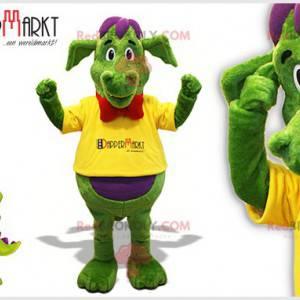 Zelený a fialový drak maskot s motýlkem - Redbrokoly.com
