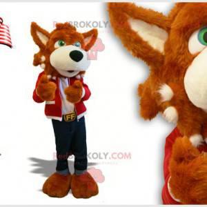 Vlk maskot hnědý pes se zelenýma očima - Redbrokoly.com