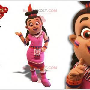 Indyjska maskotka kobieta w różowej sukience - Redbrokoly.com