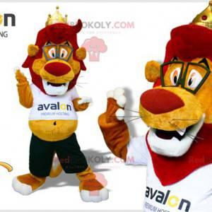 Maskot červený a žlutý lev s brýlemi - Redbrokoly.com