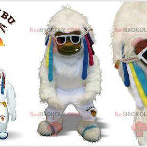 Maskottchen weißer Yeti mit bunten Locken - Redbrokoly.com