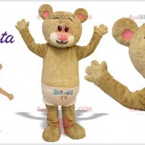 Beige Teddybär Maskottchen mit einem Mantel. Riesiger Teddybär