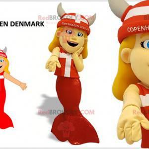 Maskot mořská panna s vikingskou helmou - Redbrokoly.com