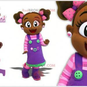 Maskottchen kleines afrikanisches Mädchen mit einem bunten