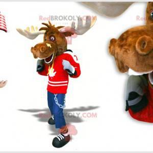 Elgkaribou maskot med et bandasje på nesen - Redbrokoly.com