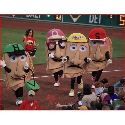 4 maskoti obří hlavy s čepicemi - Redbrokoly.com