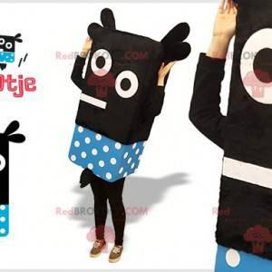 Černý a modrý sněhulák domino maskot s tečkami - Redbrokoly.com