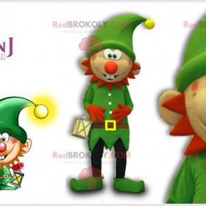 Green leprechaun mascot with a red beard and a hat -