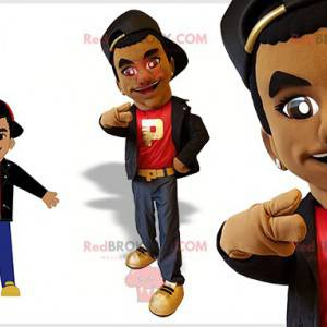 Young mixed race man mascot dressed in hip-hop outfit -