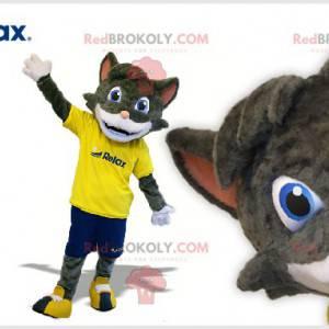 Szary i biały kot maskotka w odzieży sportowej - Redbrokoly.com
