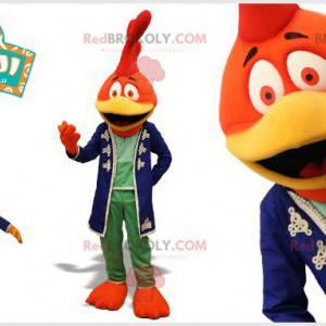 Oransje rød og gul hane maskot. Fuglemaskott - Redbrokoly.com