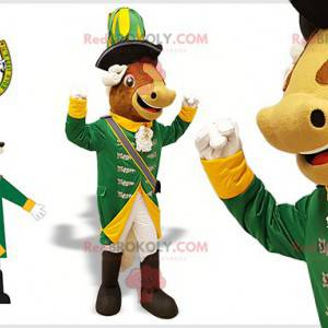 Cow mascot in white and yellow green Renaissance outfit -