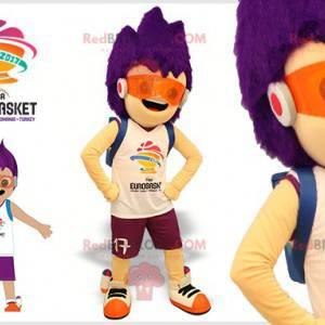 Futuristisches Jungenmaskottchen mit lila Haaren -