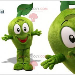 Velmi usměvavý maskot zelené jablko. Obří zelené jablko -