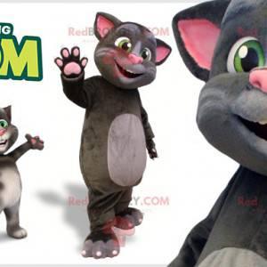 Grå og lyserød kattemaskot. Talking Tom maskot - Redbrokoly.com