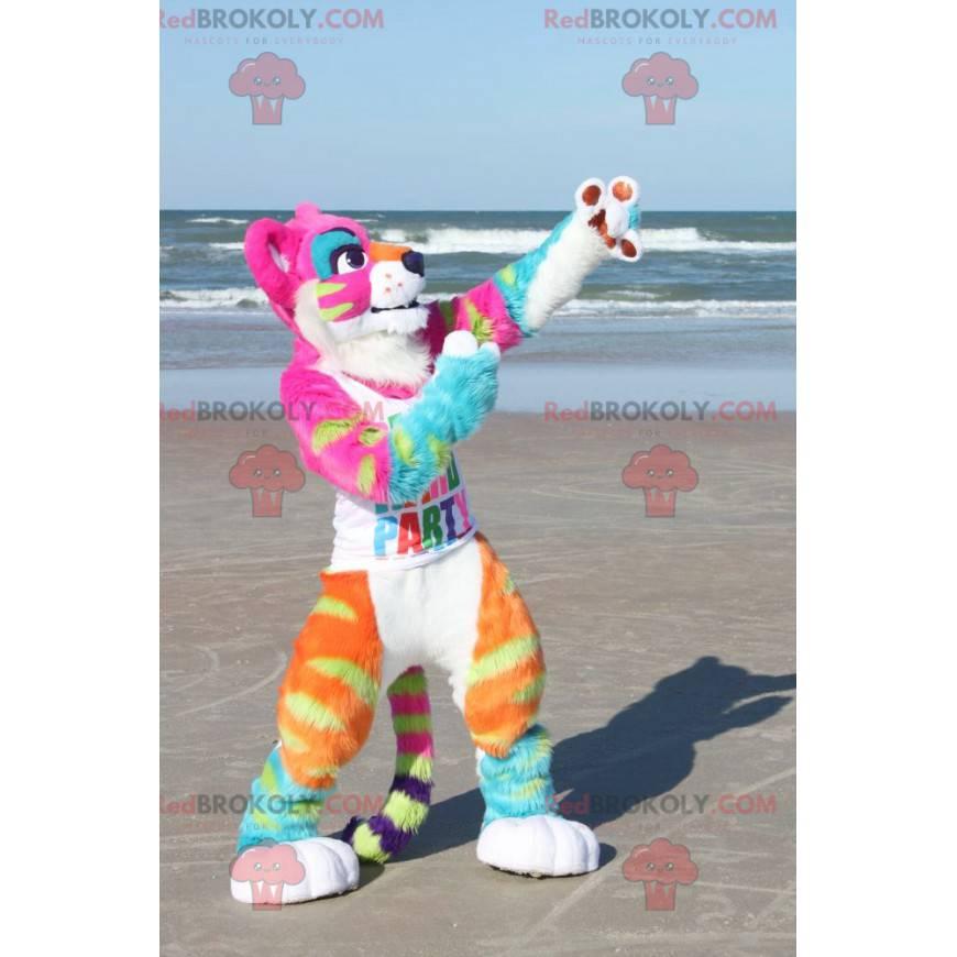 Rosa Löwin Tigerin Maskottchen voller Neonfarben -