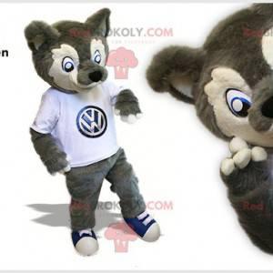 Graues und weißes Wolfsmaskottchen. Wolfshundemaskottchen -