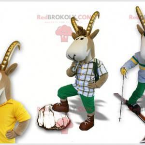 Šedý a bílý kamzík maskot s rohy - Redbrokoly.com
