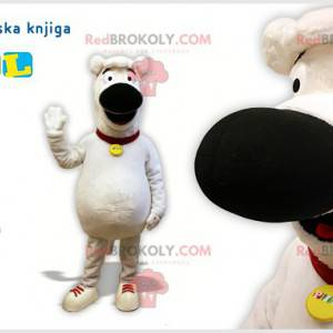 White and black dog mascot. Doggie costume - Redbrokoly.com