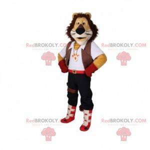 Maskot trikolóra lev s elegantním oblečením - Redbrokoly.com