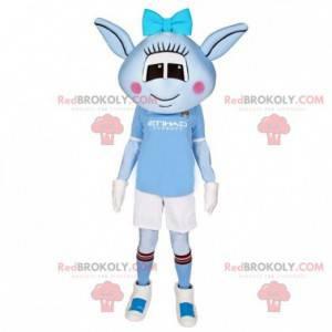 Blue female extraterrestrial mascot with sportswear -