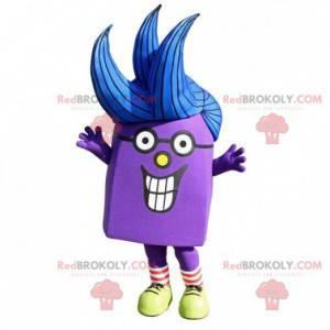 Velmi usměvavý fialový maskot sněhuláka - Redbrokoly.com